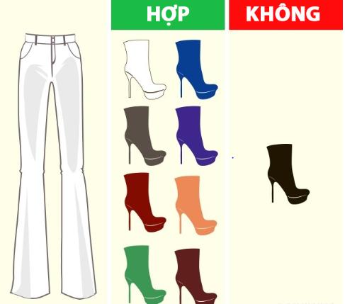 Quần màu trắng hợp với nhiều màu giày khác nhau trừ màu đen.