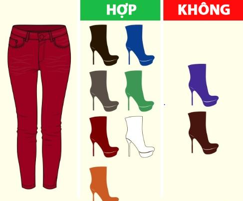 Mix giày với quần màu đỏ.